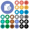 Israeli new Shekel financial report round flat multi colored icons - Israeli new Shekel financial report multi colored flat icons on round backgrounds. Included white, light and dark icon variations for hover and active status effects, and bonus shades on black backgounds.