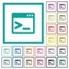 Command prompt flat color icons with quadrant frames - Command prompt flat color icons with quadrant frames on white background
