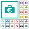 Euro bag flat color icons with quadrant frames - Euro bag flat color icons with quadrant frames on white background