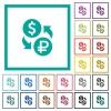 Dollar Ruble money exchange flat color icons with quadrant frames - Dollar Ruble money exchange flat color icons with quadrant frames on white background