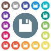 Save data flat white icons on round color backgrounds - Save data flat white icons on round color backgrounds. 17 background color variations are included.