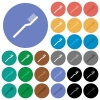 Toothbrush multi colored flat icons on round backgrounds. Included white, light and dark icon variations for hover and active status effects, and bonus shades on black backgounds. - Toothbrush round flat multi colored icons