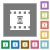 Movie processing square flat icons - Movie processing flat icons on simple color square backgrounds