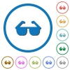 Sunglasses icons with shadows and outlines - Sunglasses flat color vector icons with shadows in round outlines on white background