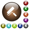 Paint roller color glass buttons - Paint roller white icons on round color glass buttons