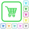 Shopping cart vivid colored flat icons - Shopping cart vivid colored flat icons in curved borders on white background
