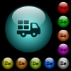 Transport icons in color illuminated glass buttons - Transport icons in color illuminated spherical glass buttons on black background. Can be used to black or dark templates