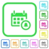 Calendar alarm vivid colored flat icons - Calendar alarm vivid colored flat icons in curved borders on white background