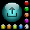 Upload symbol icons in color illuminated glass buttons - Upload symbol icons in color illuminated spherical glass buttons on black background. Can be used to black or dark templates