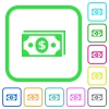 Dollar banknotes vivid colored flat icons - Dollar banknotes vivid colored flat icons in curved borders on white background