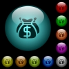 Dollar bags icons in color illuminated glass buttons - Dollar bags icons in color illuminated spherical glass buttons on black background. Can be used to black or dark templates