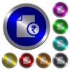 Indian Rupee financial report luminous coin-like round color buttons - Indian Rupee financial report icons on round luminous coin-like color steel buttons