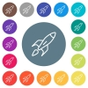 Launched rocket flat white icons on round color backgrounds - Launched rocket flat white icons on round color backgrounds. 17 background color variations are included.
