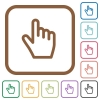 Hand cursor simple icons - Hand cursor simple icons in color rounded square frames on white background