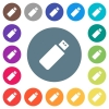 Pendrive flat white icons on round color backgrounds - Pendrive flat white icons on round color backgrounds. 17 background color variations are included.