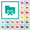 Cancel folder flat color icons with quadrant frames - Cancel folder flat color icons with quadrant frames on white background