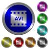 AVI movie format luminous coin-like round color buttons - AVI movie format icons on round luminous coin-like color steel buttons