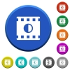 Movie contrast round color beveled buttons with smooth surfaces and flat white icons - Movie contrast beveled buttons