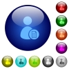 User account properties color glass buttons - User account properties icons on round color glass buttons