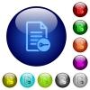 Secure document color glass buttons - Secure document icons on round color glass buttons
