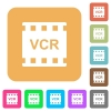VCR movie standard rounded square flat icons - VCR movie standard flat icons on rounded square vivid color backgrounds.
