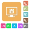 Online calendar rounded square flat icons - Online calendar flat icons on rounded square vivid color backgrounds.