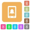 Mobile alarm rounded square flat icons - Mobile alarm flat icons on rounded square vivid color backgrounds.