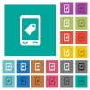 Mobile label square flat multi colored icons - Mobile label multi colored flat icons on plain square backgrounds. Included white and darker icon variations for hover or active effects.