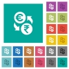 Euro Rupee money exchange square flat multi colored icons - Euro Rupee money exchange multi colored flat icons on plain square backgrounds. Included white and darker icon variations for hover or active effects.