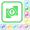 Indian Rupee coins vivid colored flat icons - Indian Rupee coins vivid colored flat icons in curved borders on white background