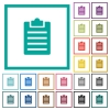 Notes flat color icons with quadrant frames - Notes flat color icons with quadrant frames on white background