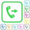 Outgoing phone call vivid colored flat icons - Outgoing phone call vivid colored flat icons in curved borders on white background