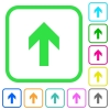Up arrow vivid colored flat icons - Up arrow vivid colored flat icons in curved borders on white background