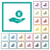 Yen earnings flat color icons with quadrant frames - Yen earnings flat color icons with quadrant frames on white background