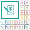 Signing Dollar cheque flat color icons with quadrant frames - Signing Dollar cheque flat color icons with quadrant frames on white background