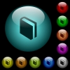 Single book icons in color illuminated glass buttons - Single book icons in color illuminated spherical glass buttons on black background. Can be used to black or dark templates