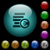 Euro coins icons in color illuminated glass buttons - Euro coins icons in color illuminated spherical glass buttons on black background. Can be used to black or dark templates