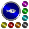 Fish luminous coin-like round color buttons - Fish icons on round luminous coin-like color steel buttons