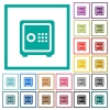 Strong box with key code flat color icons with quadrant frames - Strong box with key code flat color icons with quadrant frames on white background