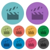 Clapperboard color darker flat icons - Clapperboard darker flat icons on color round background