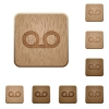 Voicemail wooden buttons - Voicemail on rounded square carved wooden button styles
