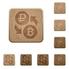 Ruble Bitcoin money exchange wooden buttons - Ruble Bitcoin money exchange on rounded square carved wooden button styles