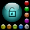 Unlocked padlock with keyhole icons in color illuminated glass buttons - Unlocked padlock with keyhole icons in color illuminated spherical glass buttons on black background. Can be used to black or dark templates