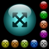 Resize full alt icons in color illuminated glass buttons - Resize full alt icons in color illuminated spherical glass buttons on black background. Can be used to black or dark templates