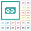 Dollar banknotes flat color icons with quadrant frames on white background - Dollar banknotes flat color icons with quadrant frames