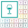 Glass of wine flat color icons with quadrant frames - Glass of wine flat color icons with quadrant frames on white background