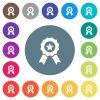 Award with ribbons flat white icons on round color backgrounds - Award with ribbons flat white icons on round color backgrounds. 17 background color variations are included.
