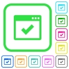 Application ok vivid colored flat icons - Application ok vivid colored flat icons in curved borders on white background