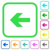 Left arrow vivid colored flat icons in curved borders on white background - Left arrow vivid colored flat icons