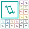 Ringing phone flat color icons with quadrant frames - Ringing phone flat color icons with quadrant frames on white background
